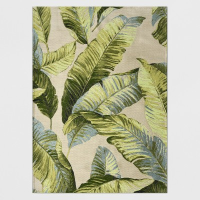 5 x 7 vacation tropical outdoor rug green threshold