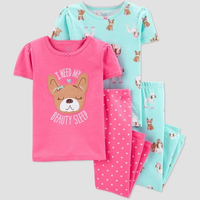 Baby Girls' 4pc Pink Dog Pajama Set - Just One You® made by carter's Pink/Aqua