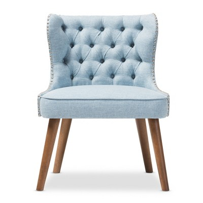 blue pattern accent chair zero gravity lawn scarlett mid century modern wood and fabric upholstered button 1 seater light walnut brown baxton studio target