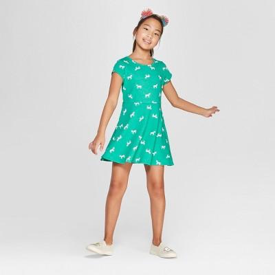 Girls' Short Sleeve Unicorn Print A Line Dress - Cat & Jack™ Green