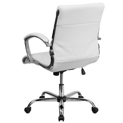 white leather swivel desk chair best office under 100 executive chrome base flash furniture