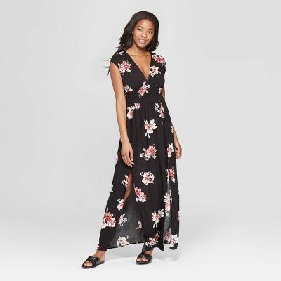 Women's Floral Print Sleeveless V-Neck Smocked Waist Maxi Dress - Xhilaration™