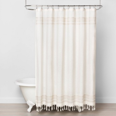 embroidery border stripe shower curtain taupe hearth hand with magnolia