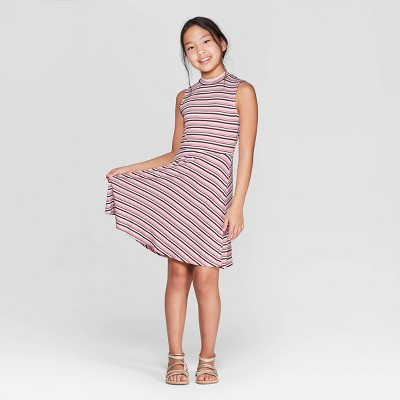 Girls' High Neck Leopard Print Dress - art class™ Light Pink