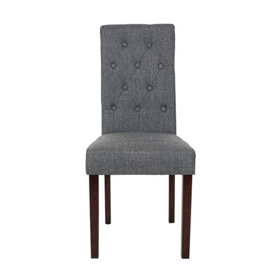gray upholstered dining chairs inada massage chair reviews set of 2 tufted back dark glitzhome target
