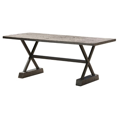 chalmette rectangular light weight concrete patio dining table brown christopher knight home