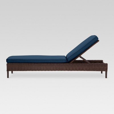 halsted wicker patio chaise lounge navy threshold