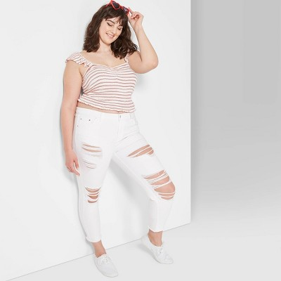 Women's Plus Size High-Rise Distressed Skinny Jeans - Wild Fable™ White