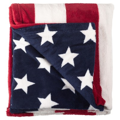 "American Flag Stars And Stripes Throw Blankets (50""x60"") - Saro Lifestyle®"