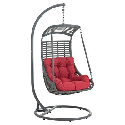 hanging patio swing chair rocking upholstered jungle outdoor in red modway target