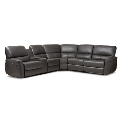 Amaris Modern and Contemporary Bonded Leather 5pc Power Reclining Sectional Sofa with USB Ports - Baxton Studio
