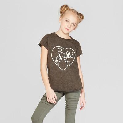 """Girls' Short Sleeve """"Wild"""" Graphic T-Shirt - Art Class™ Gray"""