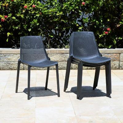 elvis 4pk plastic resin patio chair set gray amazonia