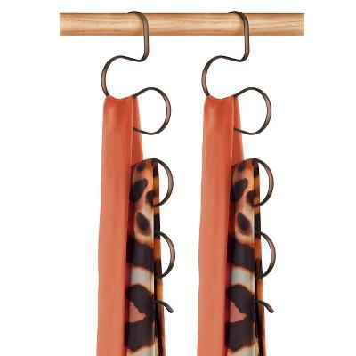 Lynk Hanging Scarf Organizer and Belt Rack (Set of 2)- Closet Accessory Holder - Bronze