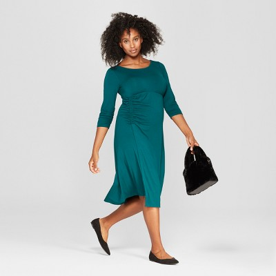 Maternity Ruched 3/4 Sleeve Dress - Isabel Maternity by Ingrid & Isabel™ Teal