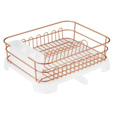 mdesign large kitchen counter dish drying rack with swivel spout copper clear