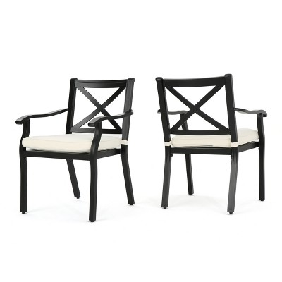 aluminum dining chairs target gliding rocking chair and ottoman exuma 2pk cast black christopher knight home