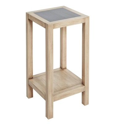 wood square small accent table gunmetal silverwood