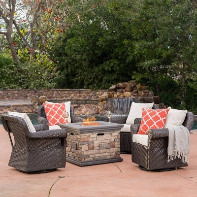 ariel 5pc wicker rocking chairs and fire pit set dark brown beige christopher knight home