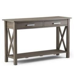 Sofa Console Tables Wood Modern White Leather Waterloo Solid Table Farmhouse Gray Wyndenhall Target