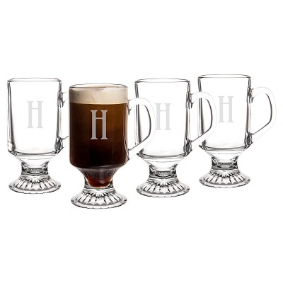 Cathy's Concepts 10oz 4pk Monogram Footed Irish Coffee Glasses A-Z