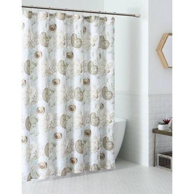 13pc aberdeen seashell coastal shower curtain set white vcny