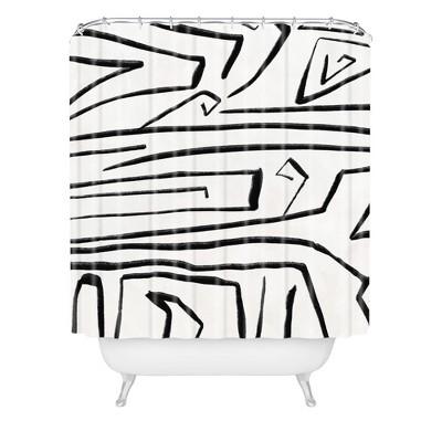 viviana gonzalez modern improvisation shower curtain black white deny designs