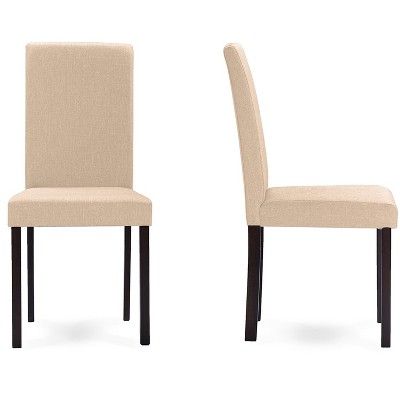 Set of 2 Andrew Contemporary Espresso Wood Finish Fabric Dining Chairs Beige - Baxton Studio