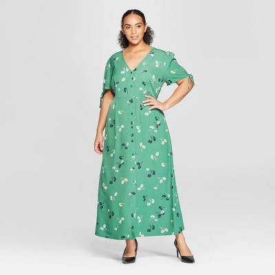 Women's Plus Size Floral Print Short Tie Sleeve V-Neck Button Detail Maxi Dress - Who What Wear™ Green