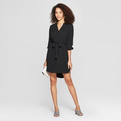 Women's Long Sleeve Crepe Shirt Dress - A New Day™ Black