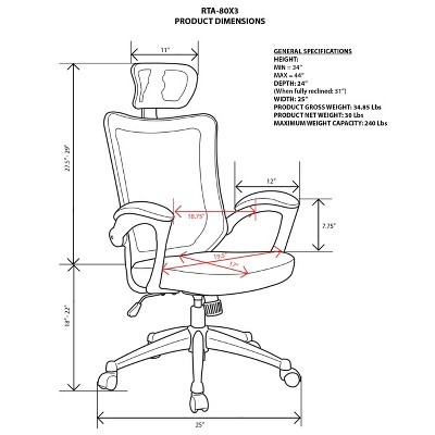 executive office chairs specifications swinging chair hammock high back mesh with headrest gray 4 more