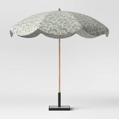 8 5 round scalloped spring floral patio umbrella duraseason fabric green light wood pole opalhouse