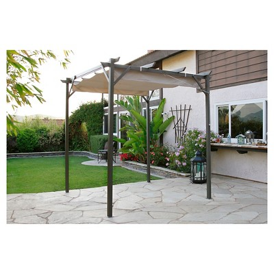 pacific casual 8 x 8 steel pergola with retractable top