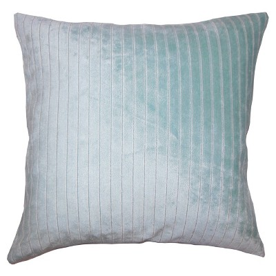 """Light Blue Ticking Square Throw Pillow (20""""x20"""") - The Pillow Collection"""
