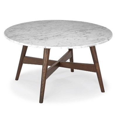 31 argentine marble round coffee table walnut poly bark