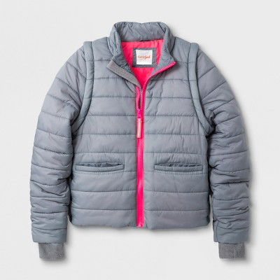 Girls' Adaptive Puffer Coat - Cat & Jack™ Gray