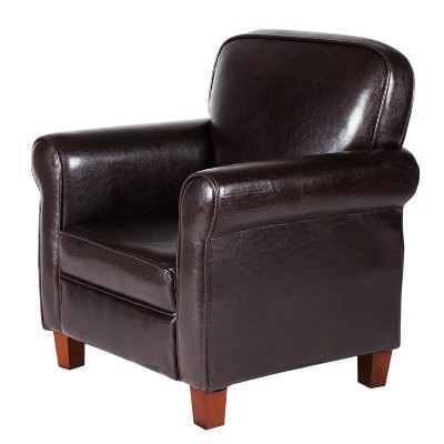 leather accent chairs volmar swivel chair review kids faux with rolled arms brown homepop target