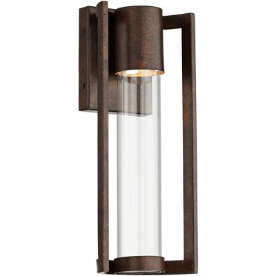 possini euro design modern outdoor wall light fixture led bronze 15 clear glass cylinder for exterior house porch patio deck