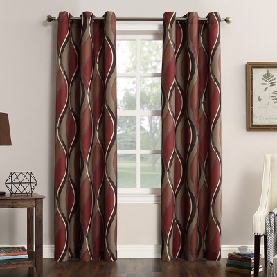 63 x48 intersect wave print casual textured grommet curtain panel brown red no 918