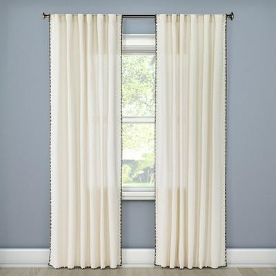 84 x54 stitched edge light filtering curtain panel cream threshold