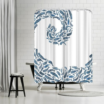 americanflat whale wave by elena oneill 71 x 74 shower curtain