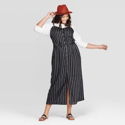Women's Plus Size Striped Sleeveless V-Neck Button Front Maxi Dress - Universal Thread™ Black