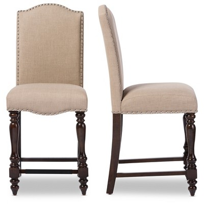 vintage oak dining chairs modern leather executive chair set of 2 zachary chic french linen fabric upholstered counter height brown beige baxton studio