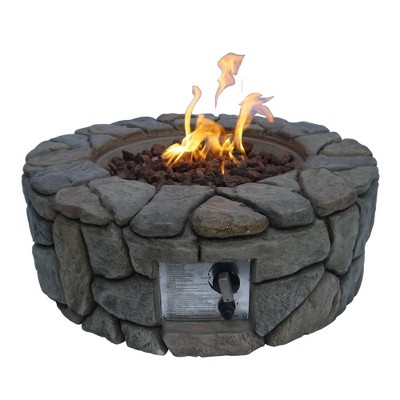 28 outdoor round stone propane gas fire pit peaktop