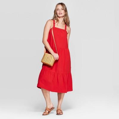 Women's Sleeveless  U-Neck Midi Tiered Dress - Universal Thread™ Red