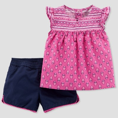 Baby Girls' 2pc Pattern Top and Shorts Set - Just One You® made by carter's Purple/Navy
