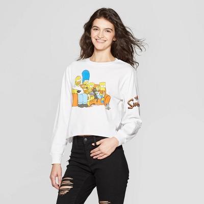 Women's Simpsons Long Sleeve Crewneck Cropped T-Shirt (Juniors') - White
