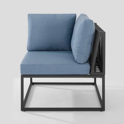 outdoor modern modular patio corner chair blue saracina home
