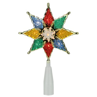 """Northlight 8"""" Lighted Multi-Color Crystal 8-Point Star Christmas Tree Topper - Clear Lights"""