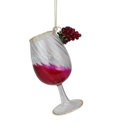 """Northlight 4.25"""" Gold Glittered Red Wine Glass Christmas Ornament"""